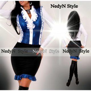 NedyN alkalmi fehér - fekete kék csillogós zsabós női ruha fodros aljú
