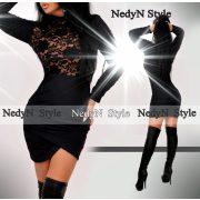 NedyN Fekete csipke betétes fenekénél húzott alkalmi női ruha