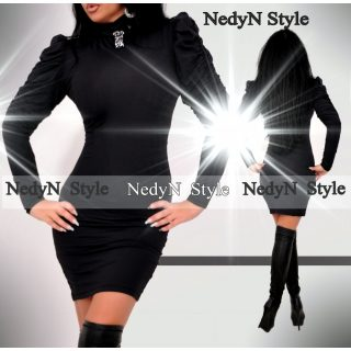 NedyN Fekete buggyos ujjú alkalmi női ruha