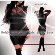 NedyN pöttyös bőrhatású alkalmi női ruha